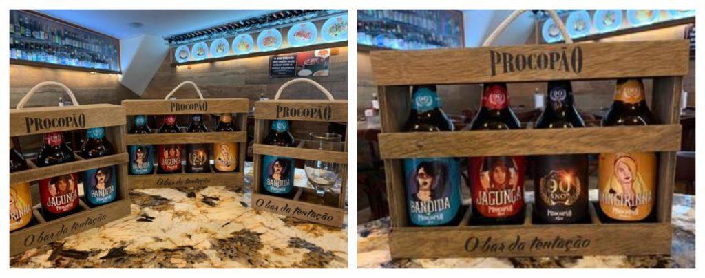 Colagem com duas fotos de kits de cervejas do Procopão